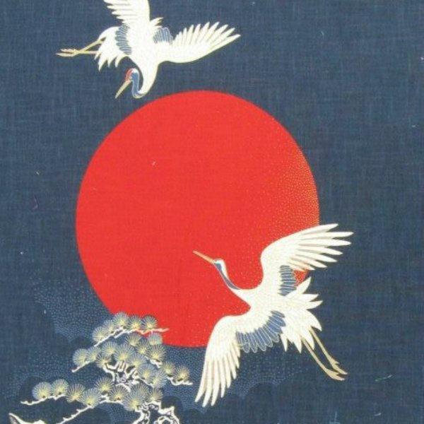 Noren Panel Flying Cranes, Red Harvest Moon, Bonsai