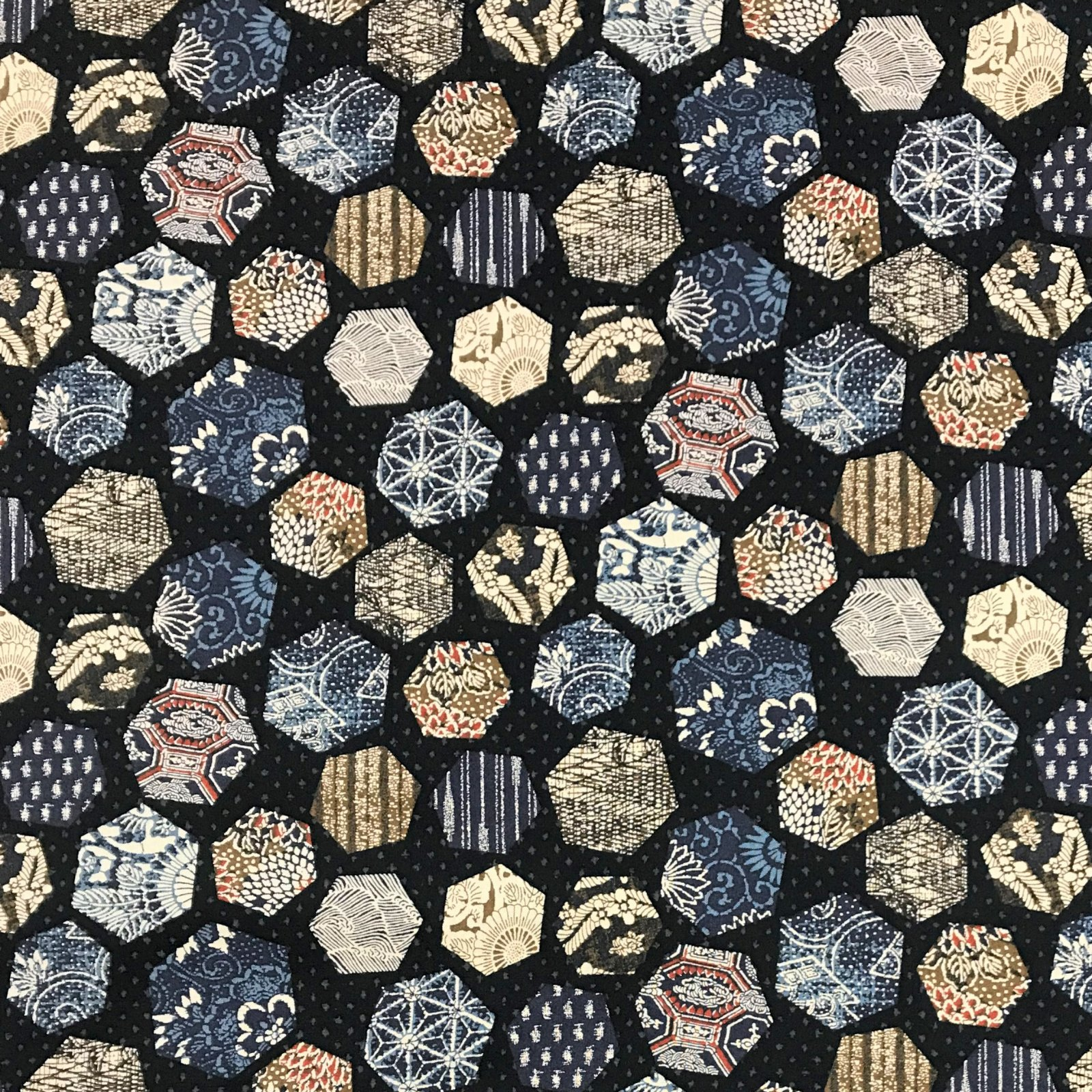 Westex - Colorful Hexagons on Indigo - KW1319-2A
