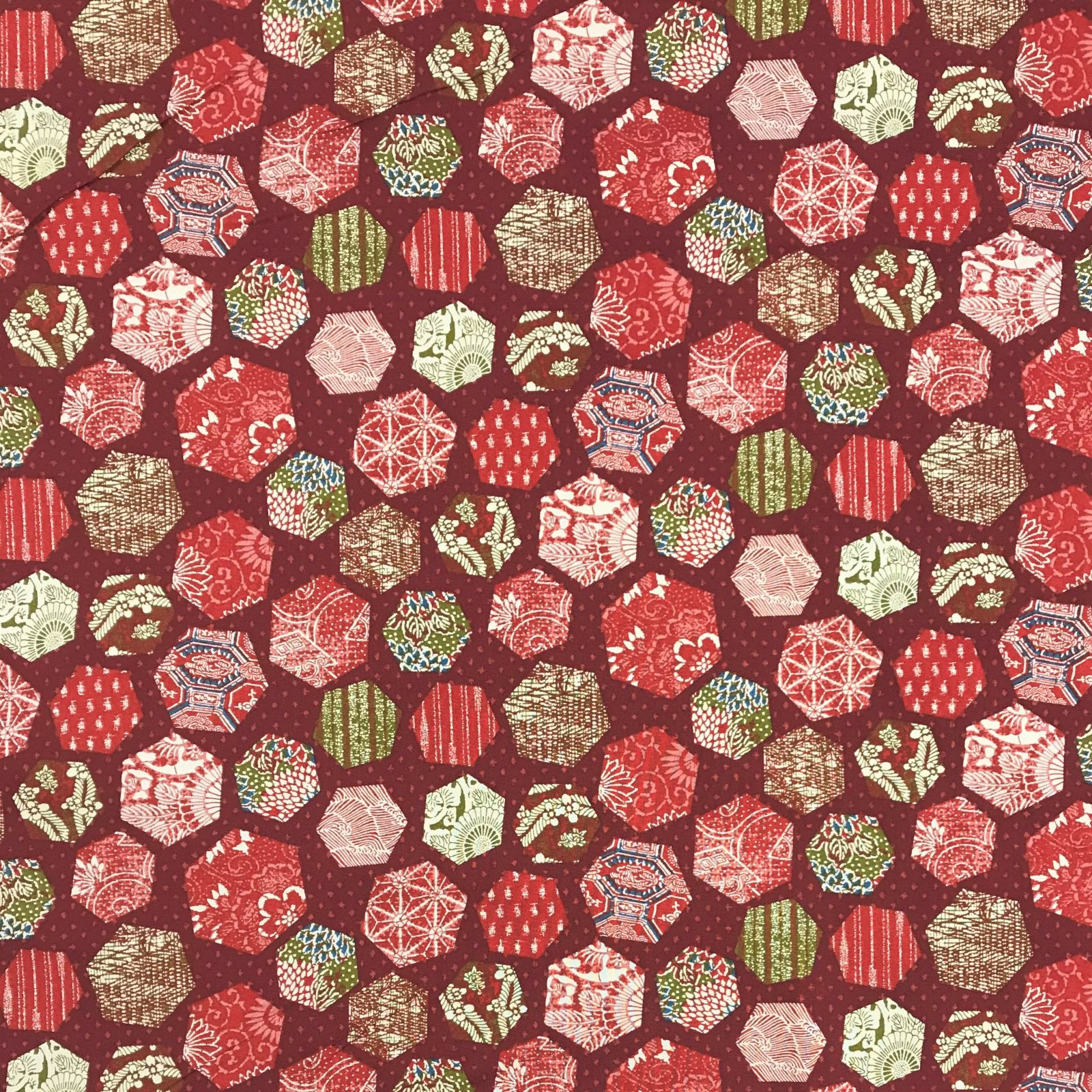 Westex - Colorful Hexagons on Burnt Red - KW1319-2B