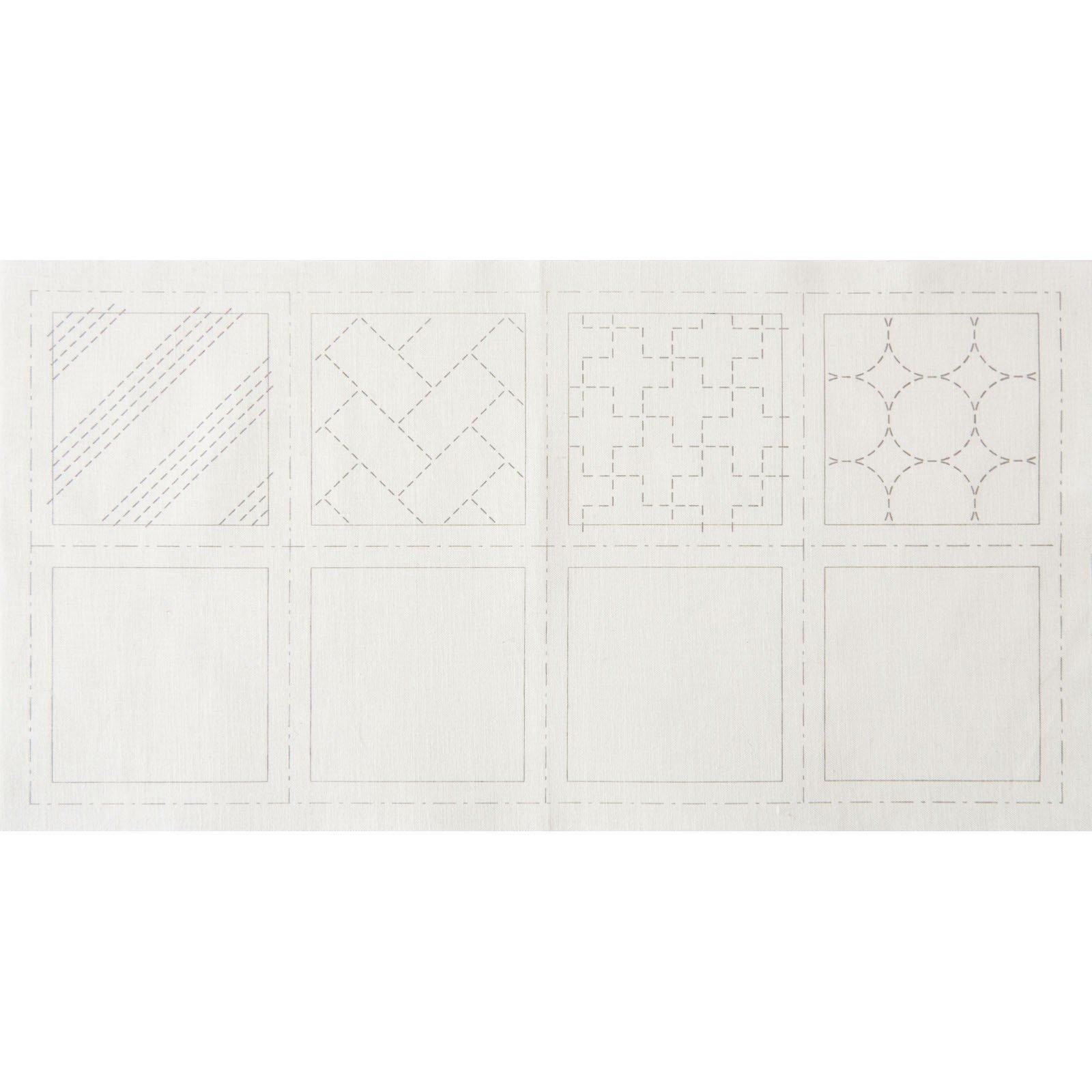 Hidamari Sashiko Pre-Printed Coaster Set #1 on White - LEN98901
