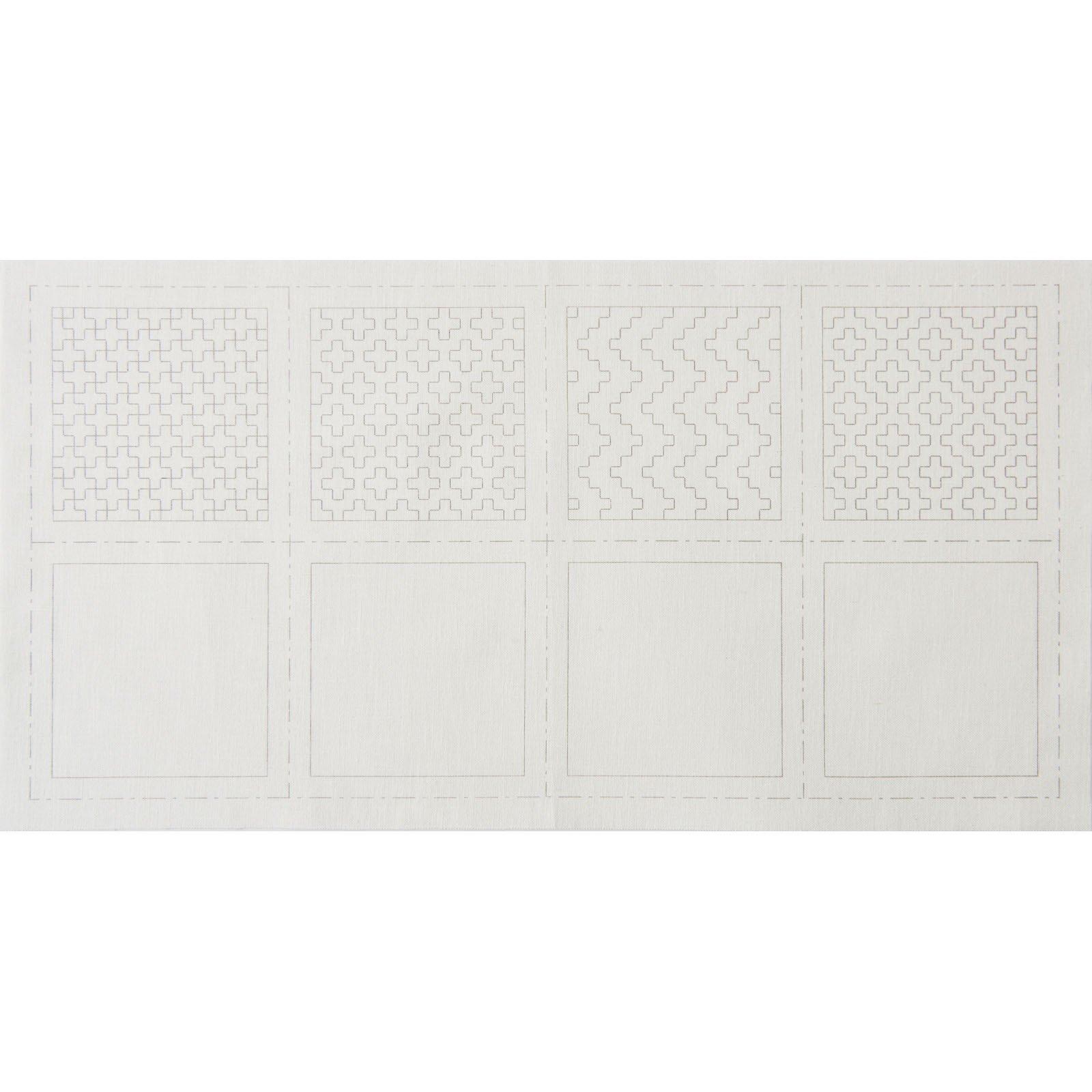 Hidamari Sashiko Pre-Printed Coaster Set #3 on White - LEN98903