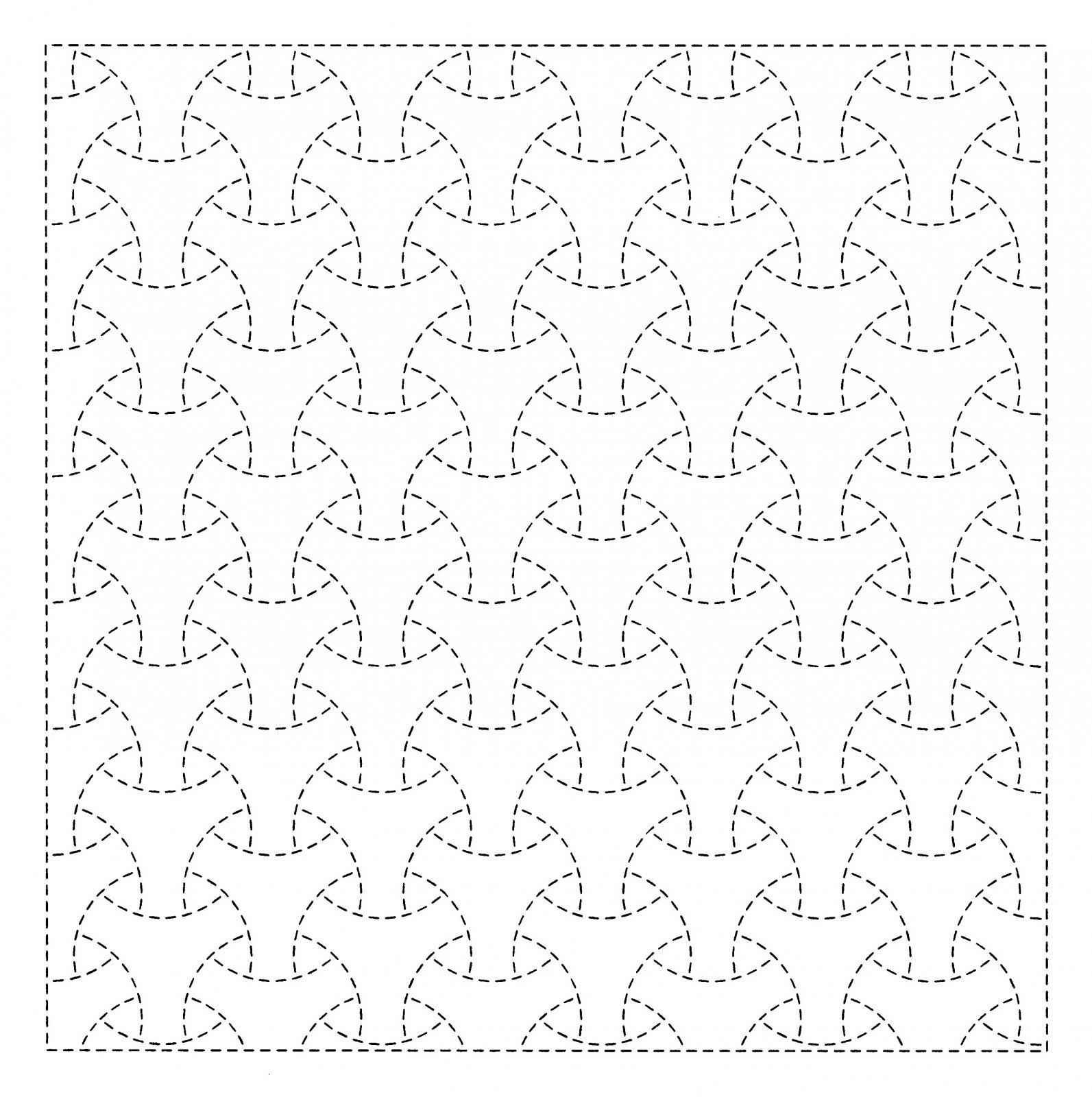 Pre-Printed Sashiko Kit on White Maru Bishamon QFSK-1015
