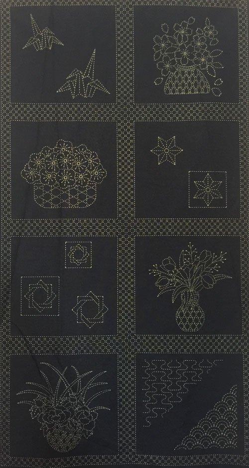 Flower Baskets Pre-Printed on Indigo Sashiko Panel Washout HM-06