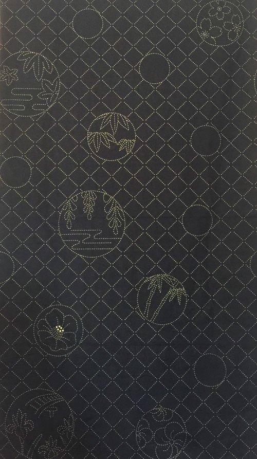 Flower Circles Pre-Printed on Indigo Sashiko Panel Washout HM-07