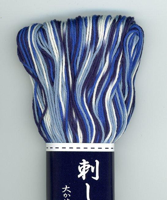 Olympus Sashiko Boro Thread Variegated Large Skein Blue White ST-0151