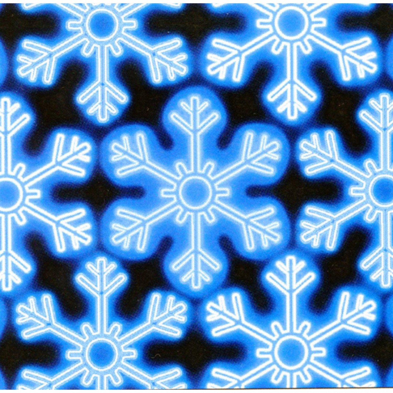 Blue Glowing Snowflakes-Black B/G-Kanvas Studios-BTY