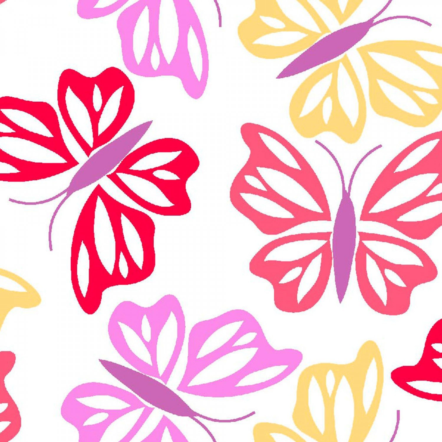 Butterflies-White B/G-Three Wishes Fabric-BTY