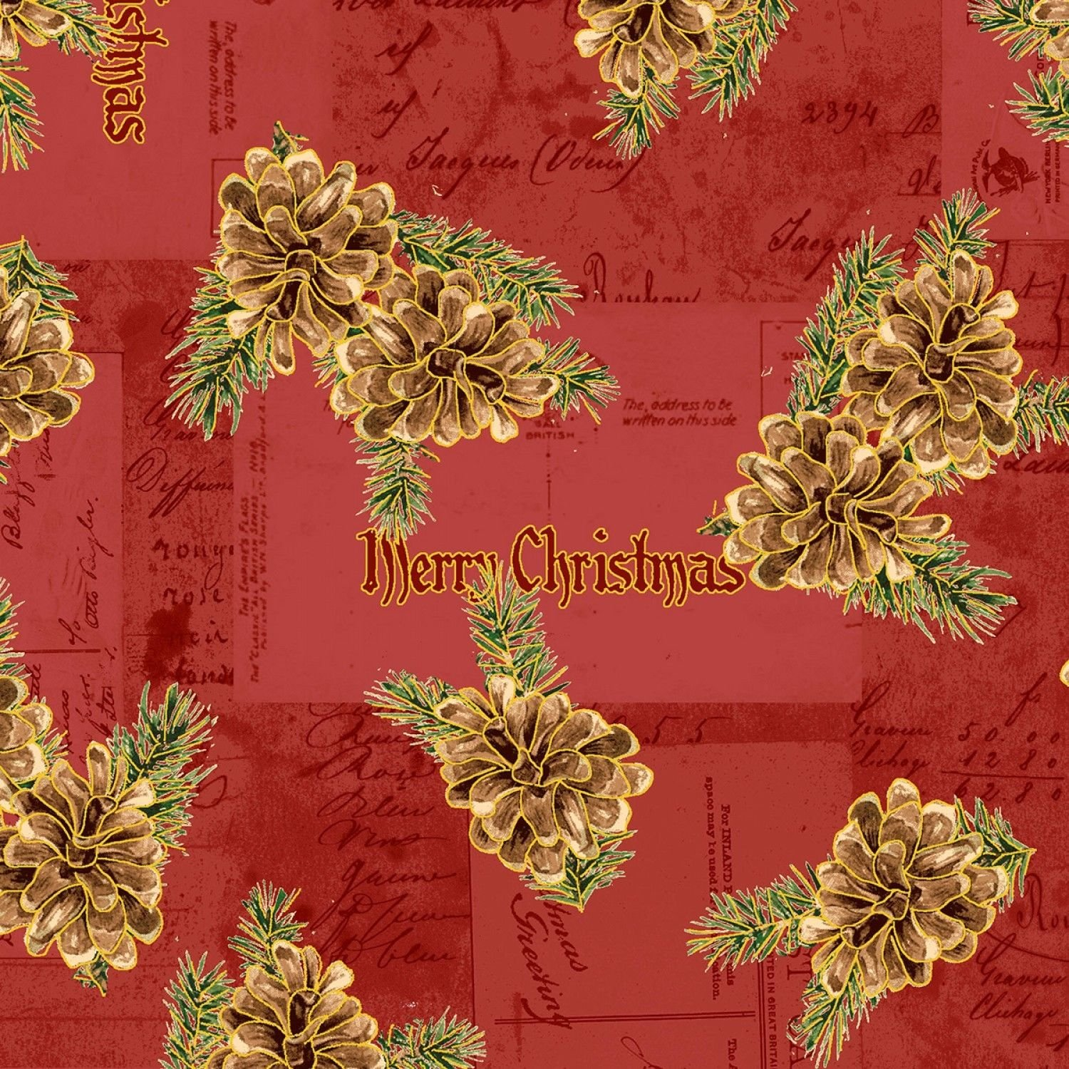 Christmas Memories Pine Cones on Red B/G-Washington Street Studios-BTY
