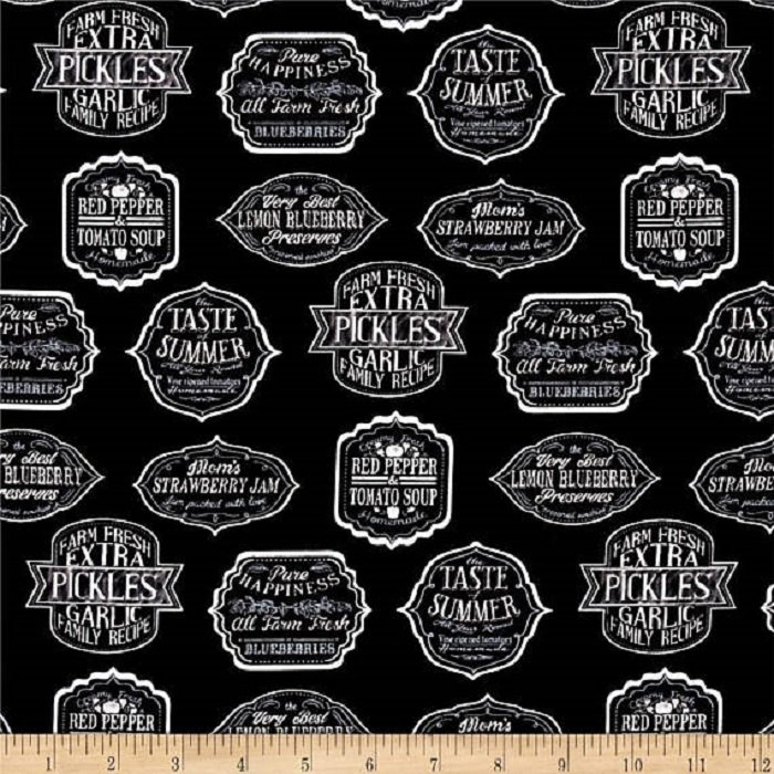 Down on the Farm Canning Labels Black & White-Robert Kaufman-BTY
