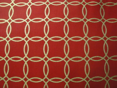 Gold Interlocking Circles-Red B/G-Robert Kaufman-BTY