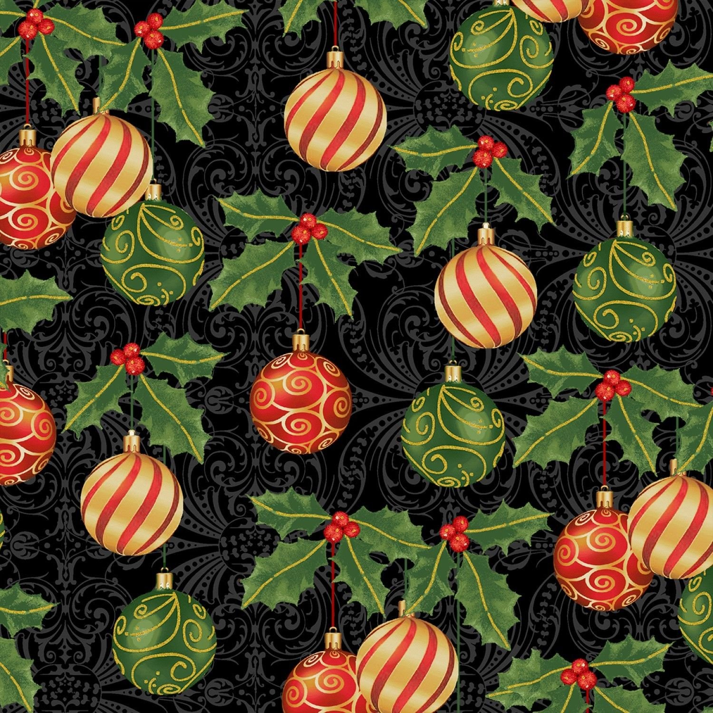 Deck the Halls Hanging Ornaments Black B/G-Windham Fabrics-BTY