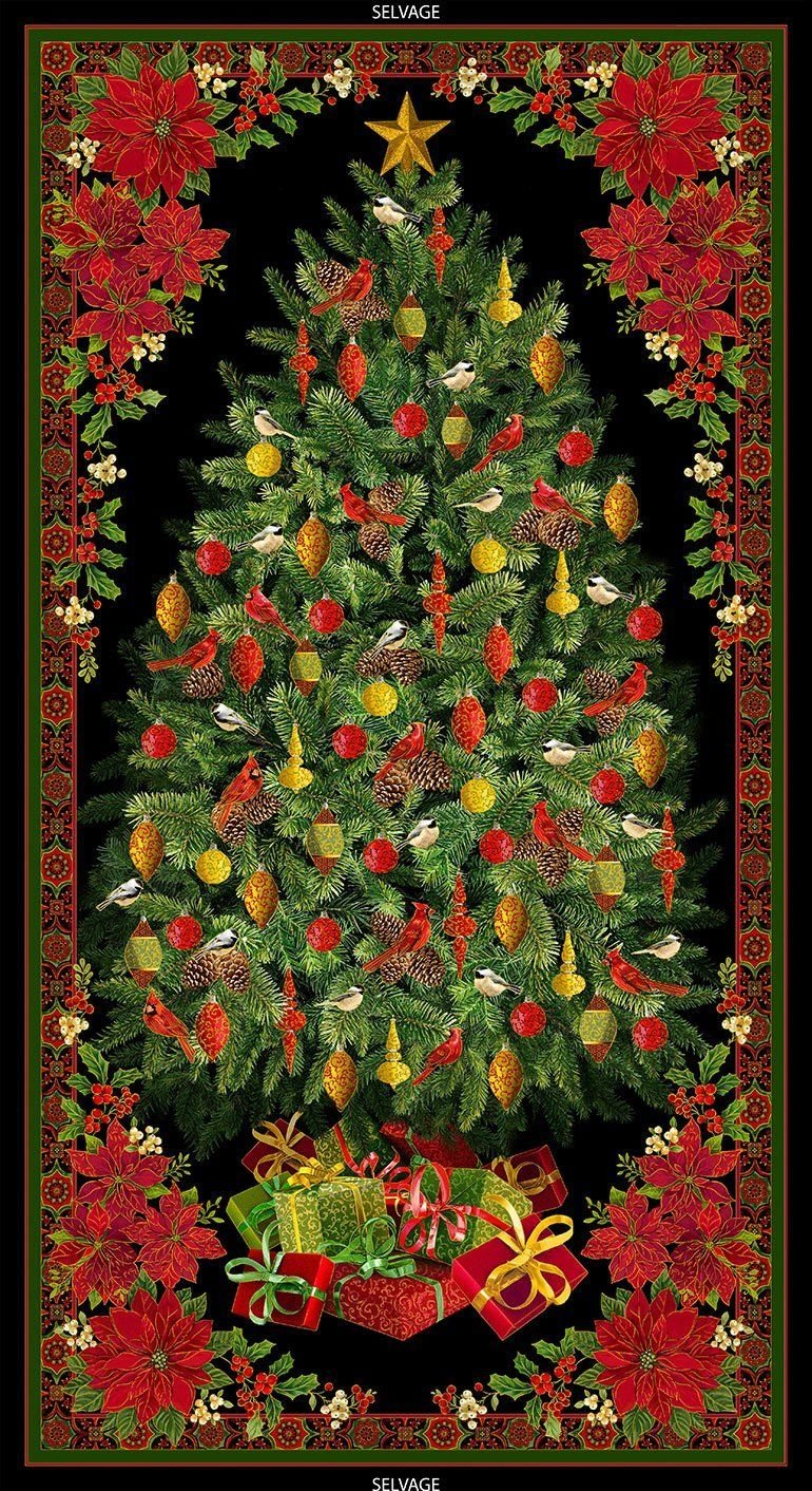 Christmas Tree w/Poinsettias Panel by Timeless Treasures