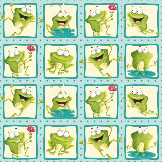 Frogland Friends Squares Henry Glass