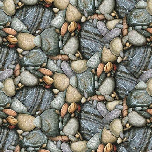 Keep It Reel Gray Rocks Blank Fabric