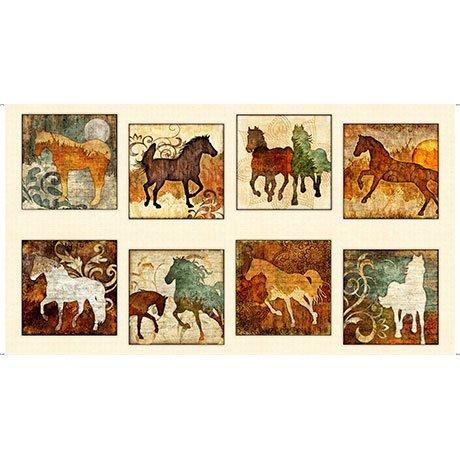 Unbridled Big Squares Horses Quilting Treasures