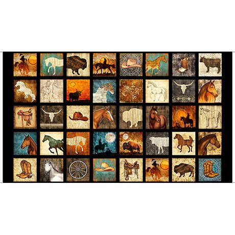 Unbridled Small Squares Horses Quilting Treasures