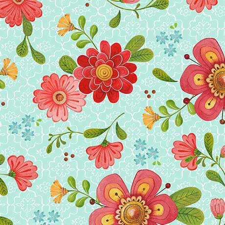 All a Flutter Teal Floral Quilting Treasures