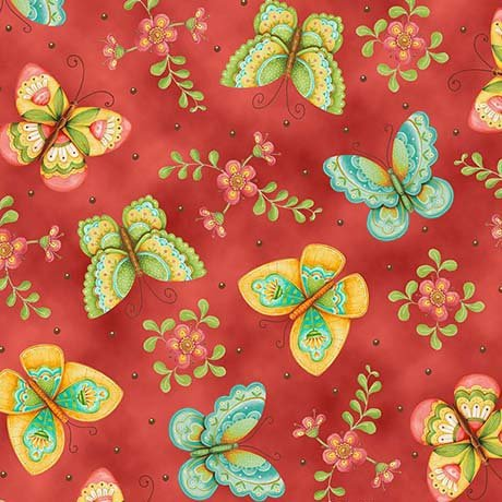 All a Flutter Orange Butterflies Quilting Treasures