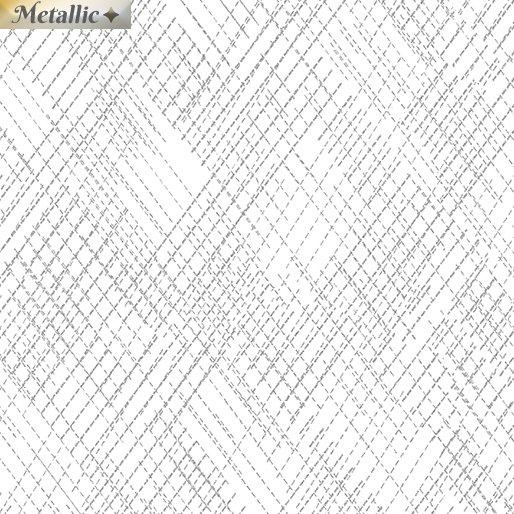 Metallic Cross hatch White/Silver