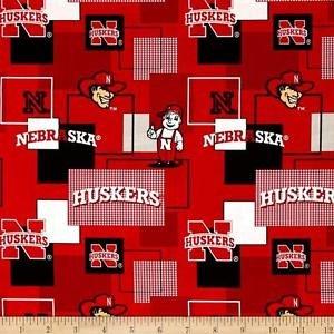 University of Nebraska Block Print Cotton