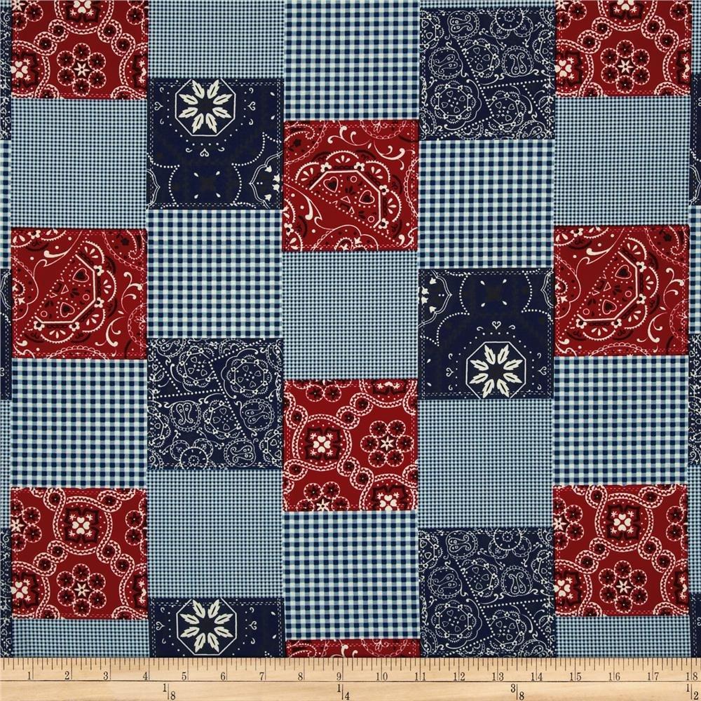 Bandana Patchwork Michael Miller / Red Blue Squares