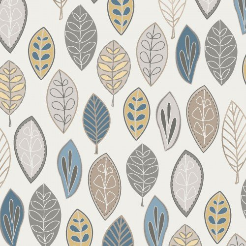 Neutral Ground Blue/Yellow Floating Leaves