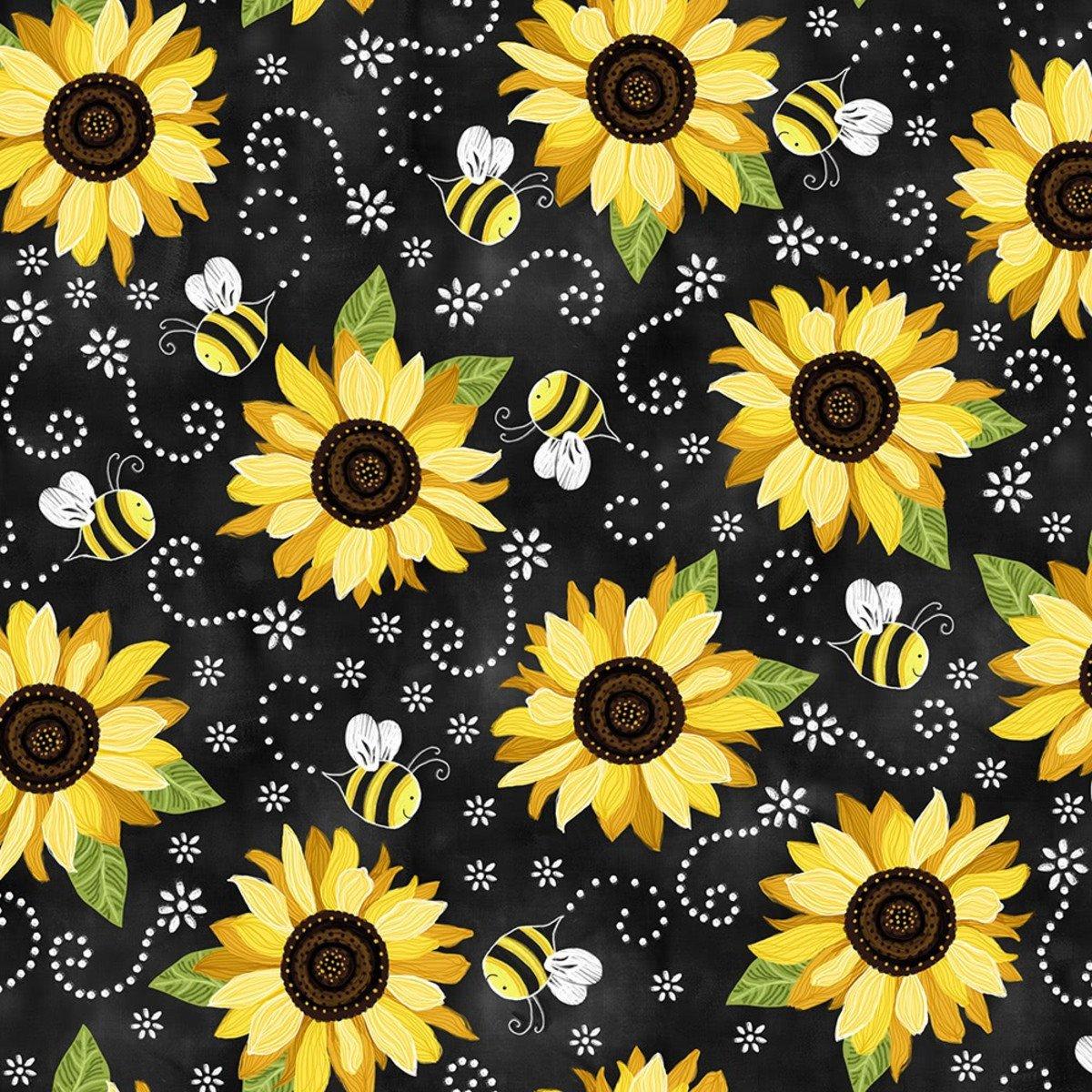 Sunflower and Bee Chalkboard Print Minky Timeless Treasures
