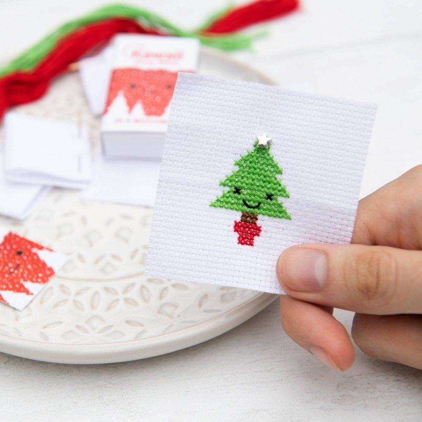 Kawaii Christmas Tree Cross Stitch Kit In A Matchbox