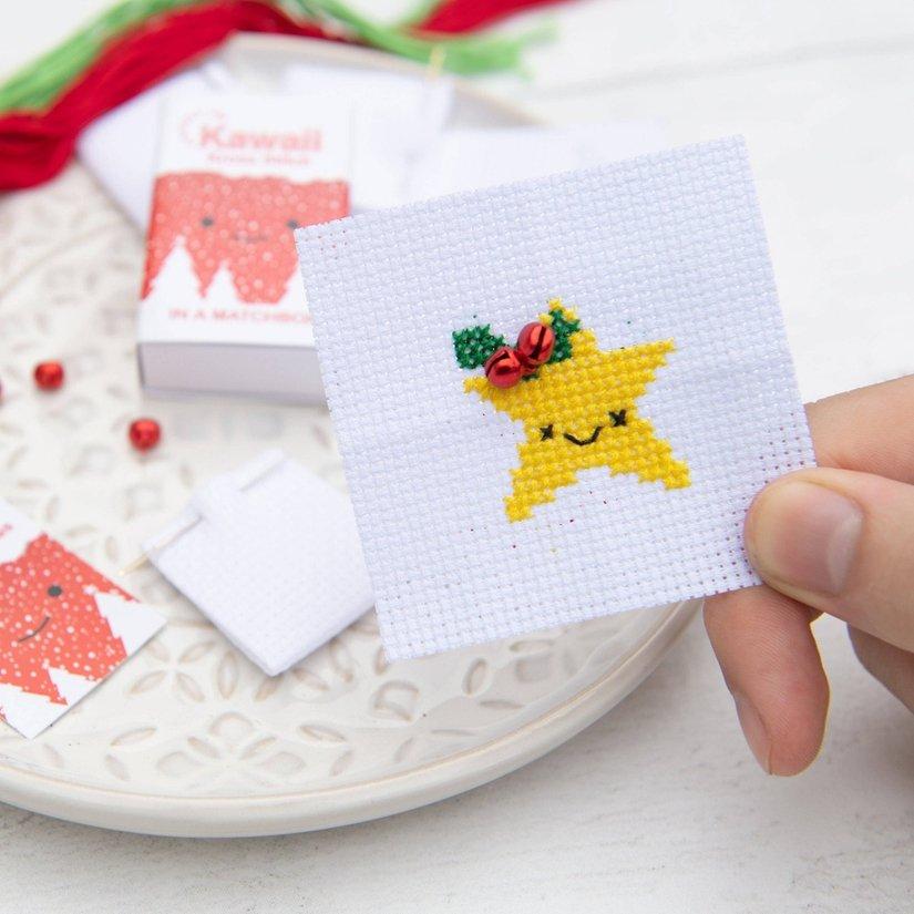 Kawaii Christmas Star Cross Stitch Kit In A Matchbox