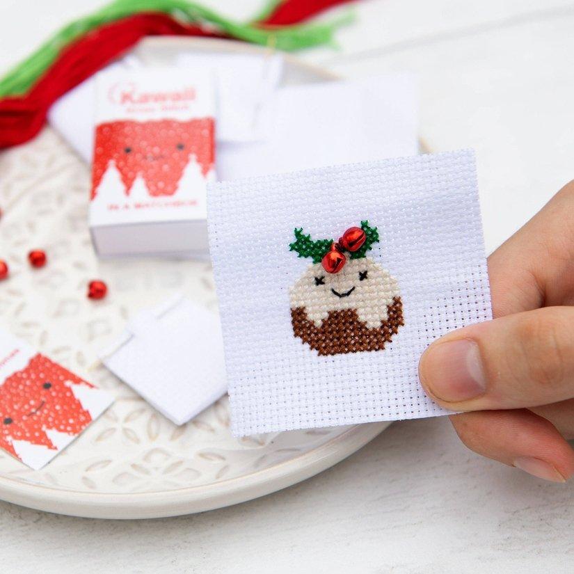 Kawaii Christmas Pudding Cross Stitch Kit In A Matchbox