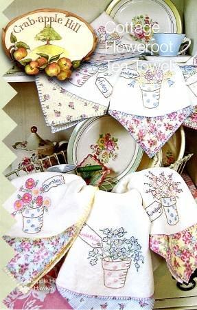 Crab apple Hill - Cottage Flowerpot Tea Towels