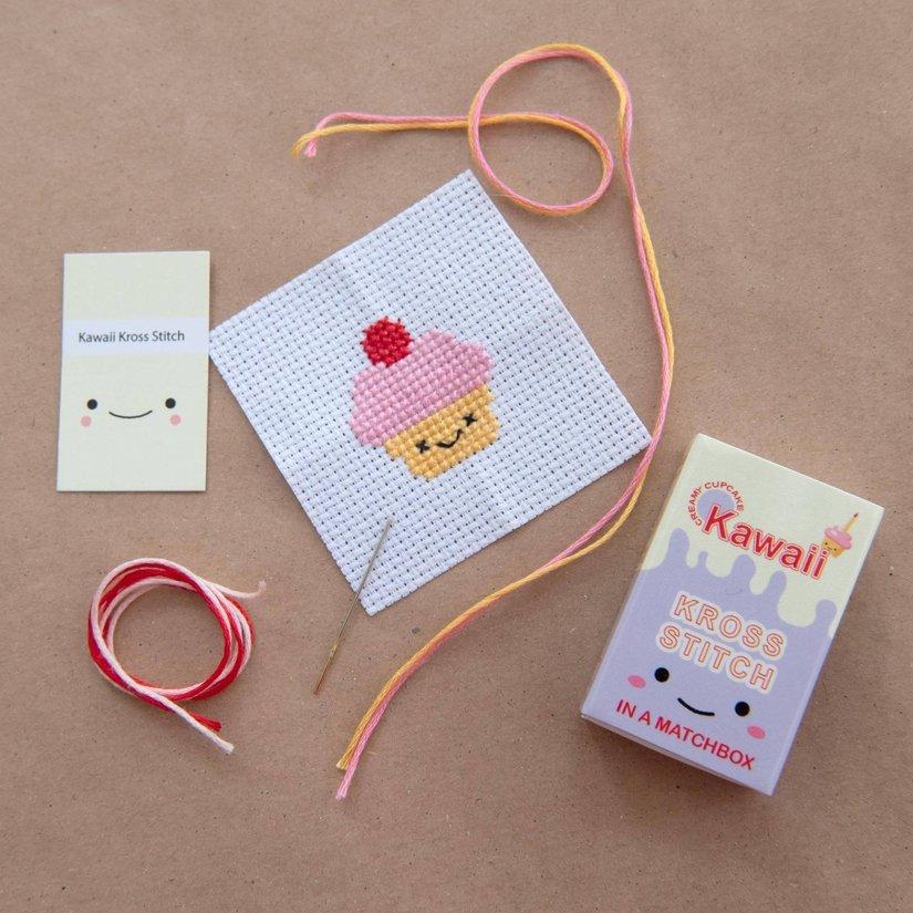 Kawaii Cup Cake Mini Cross Stitch Kit In A Matchbox