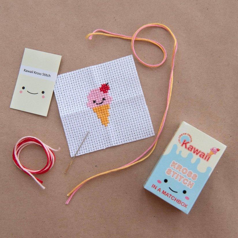 Kawaii Ice Cream Mini Cross Stitch Kit In A Matchbox