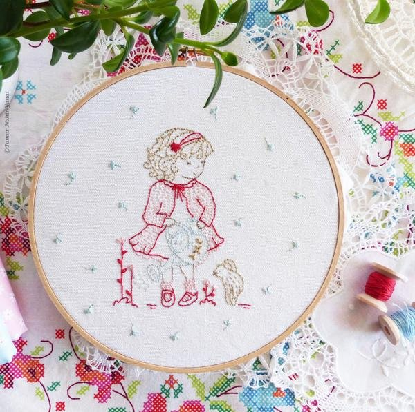 Girl Watering Flowers Embroidery Kit