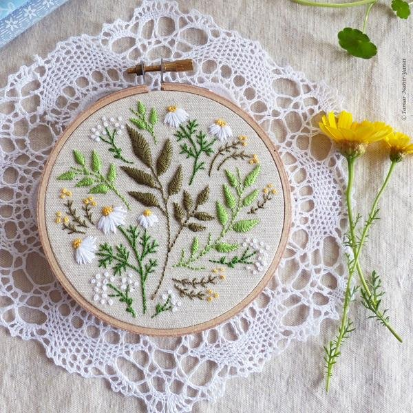 TamarNahirYanai - Green Leaves Embroidery Kit