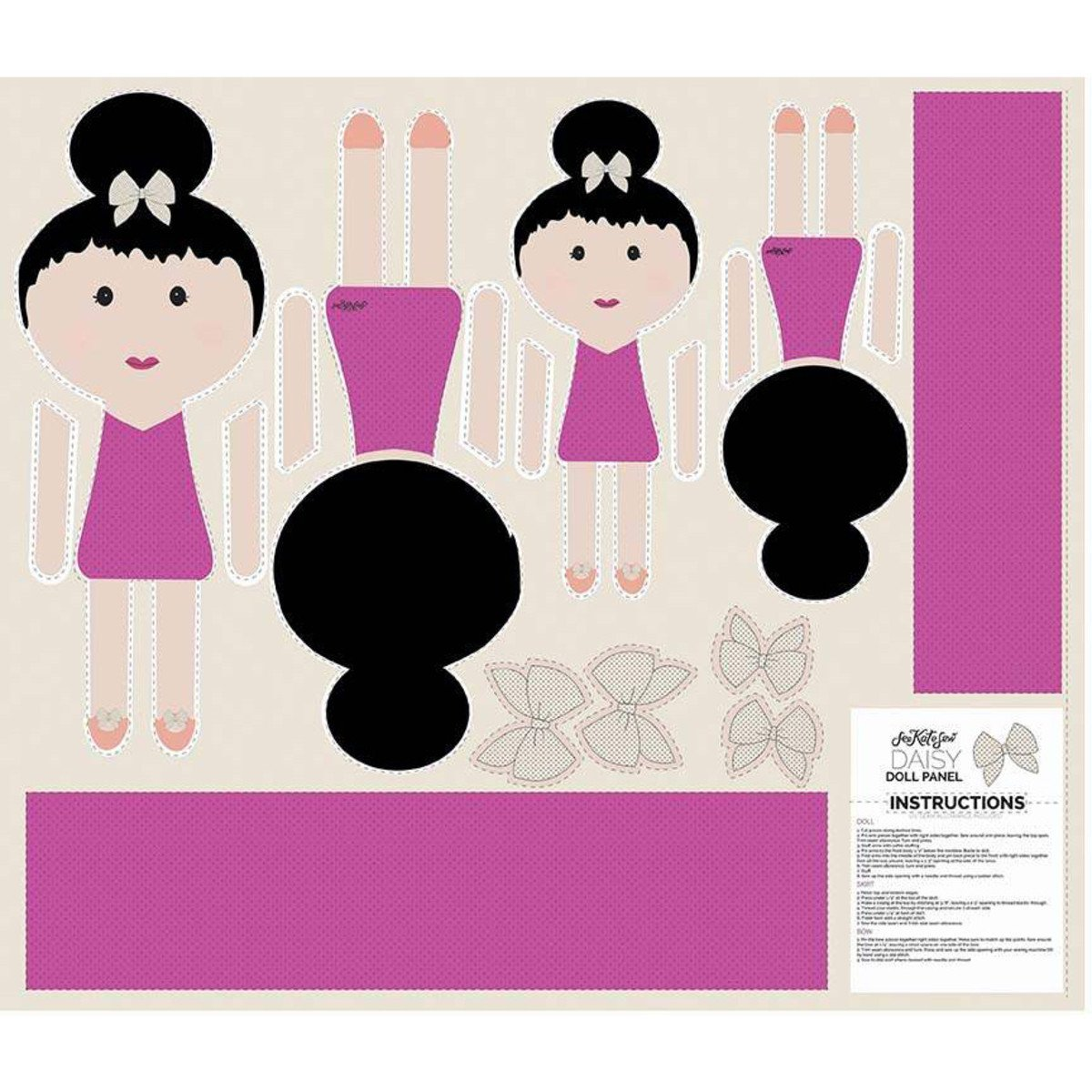 Riley Blake Top Knot Doll Panels