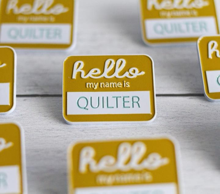 Quilter Hello Badge Enamel Pin