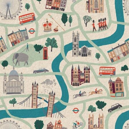London Town - London Forever - Syunny Day Canvas Fabric