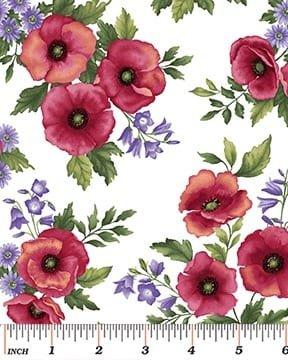 Poppy Panache Allover Flower White