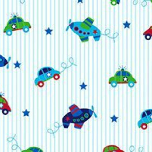 Simply Sweet Planes Cars on Blue Stripe