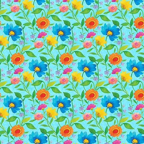 Bloom Bouquet II Small Floral Med. Blue