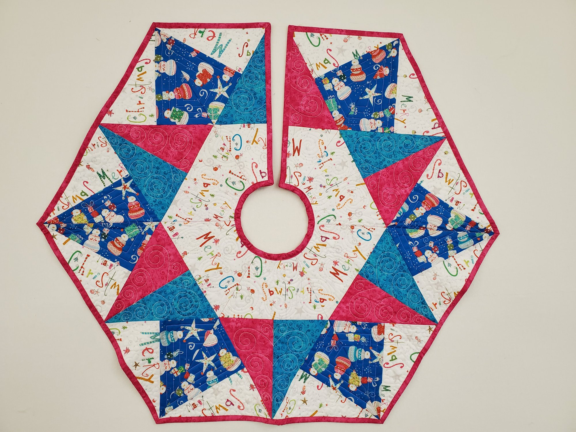 Pink/Blue Holiday Tree Skirt