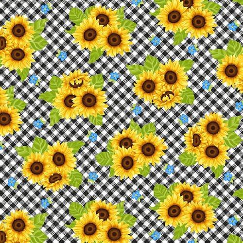 Sunny Sunflowers Multi Tossed Sunflowers on Gingham