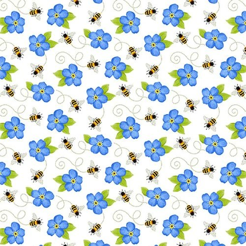 Sunny Sunflowers White Tossed Bees Blue Flower