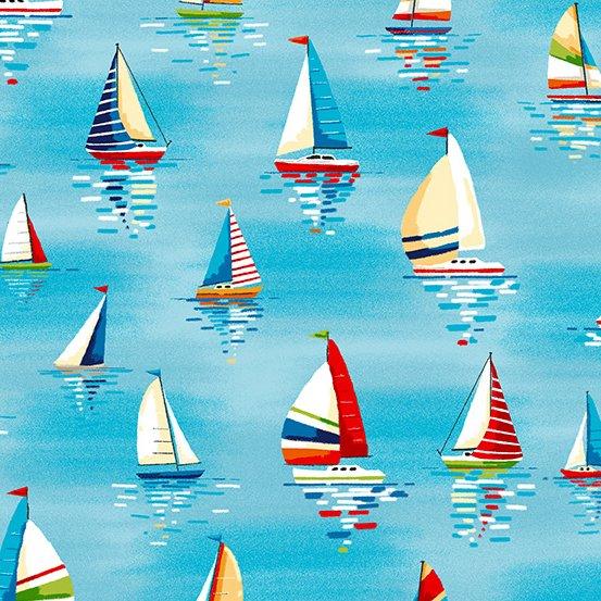 Beside the Sea Sailboats Light Blue