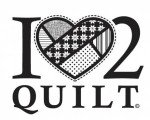 I Heart 2 Quilt - White - Vinyl Window Decal