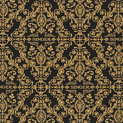 Singer Gold & Black Scroll Fabric