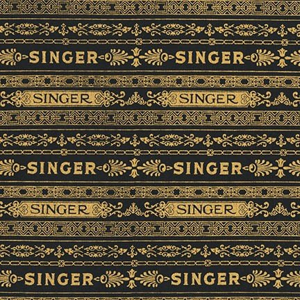 Singer Black and Gold Stripe Fabric