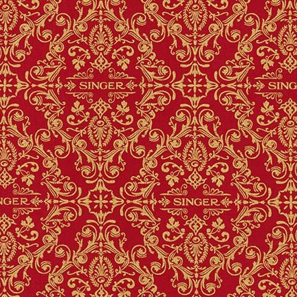 Singer Red and Gold Scroll Fabric