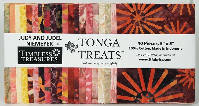 5in Squares Tonga Batik Passion Fruit Fabric